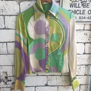 Vintage VALENTINO 100% Silk Groovy Button Shirt